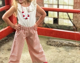 Red and White Striped Wide Leg Pants Ticking Girls Pants Elastic Waist Handmade Pants