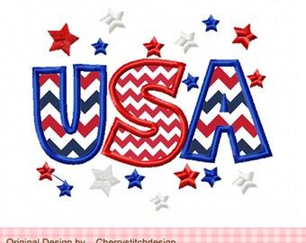 "USA 4th of July Patriotic USA Machine Embroidery Applique Design -4x4 5x5 6X6"""