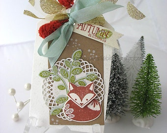 Little Fox Fall Winter XL Deluxe Art Gift Tag~kraft~sage green~winter white~rust red~gold~hang tags~gift bag swag~pretty packaging