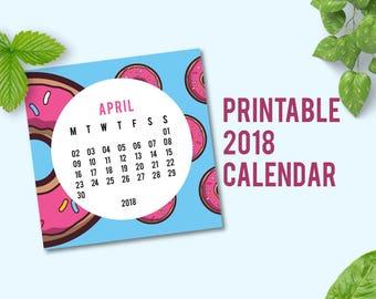 2018 Printable Calendar   Calendar 2018   2018 Wall Calendar   Desk Calendars 2018   Wall Calendar 2018   Donuts Pattern   PDF   Digital