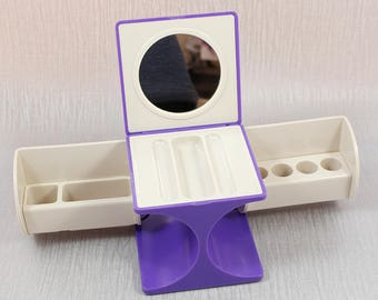 1970s Purple and Cream Plastic Vanity Case Jewelry Fold Out Folding Box with Compartments and Inner Mirror