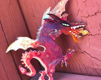 09 fire breathing dragon 553 // lucite jewelry, acrylic painting, shawl pin, painted brooch, laser cut, pop art, lowbrow art, mini painting