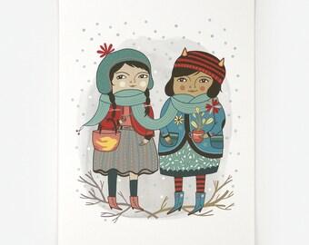 Little Winter Friends - Giclee Print