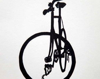 Fixie Bike in Classic Black on White - Bicycle Art Print