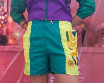 SALE! 80s Fluro Green Yellow Surf Board Shorts