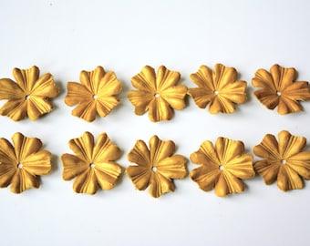 Cornflower leather flowers set of 10 pcs