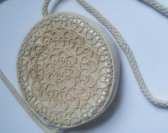 Round 1970s Vintage Round Cream Purse Handbag with Crochet/ Boho/Festival/ Hippie/Lace