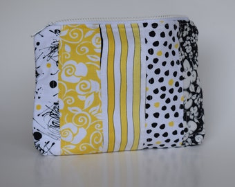 Yellow and Black Quilted Zippered Pouch, Cosmetic Bag, Quilted Bag, Travel Bag, Mother's Day Gift, Gift for Her