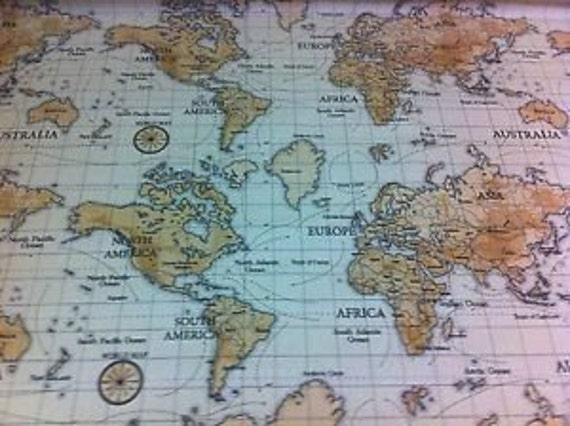 World map countries geography globe ocean fabric 100 cotton world map countries geography globe ocean fabric 100 cotton upholstery curtain fabric uk design gumiabroncs Image collections