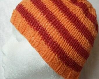 Orange and Red Striped Shetland Wool Hat