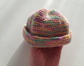 Baby beanie 100% pure Australian wool. Size 0-3 months. Rainbow, variegated wool