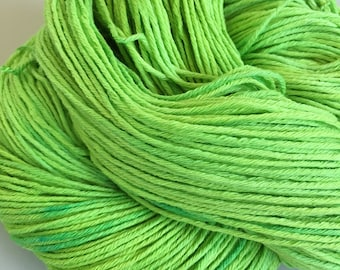 Hand Dyed SuperCotton Sock Australian Cotton Lime Squeeze 100g 324m