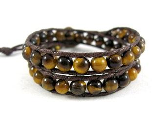 Tiger Eye Bracelet, Golden Tiger's Eye Wrap Bracelet, Earthy Boho Bracelet, Tiger Eye Choker, Tigers Eye Jewelry