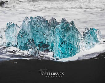 Iceland Diamond Beach Landscape Photography Print  12x18 16x24 20x30 24x36 30x40