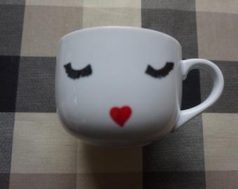 Handmade Cute Eyelashes/Heart Mouth Mug,cute,oil sharpies,coffee mug,sharpie mugs,diy,design,red,heart,16oz,large,big,eyelash,face,sassy,lip
