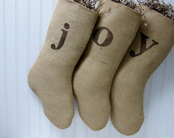 JOY Christmas Stockings - Set of 3 stockings