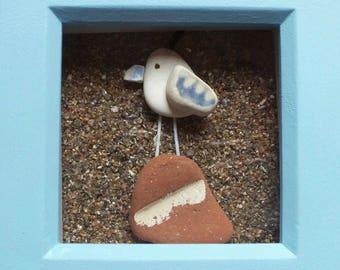 Scottish Sea Pottery Bird Picture - Handmade in Scotland - Bird Lovers Gifts - Seaside Beach Decor - Birdwatchers Gift - Blue Frame