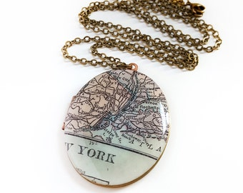 New York Map Necklace on a Large Brass Locket, Oval Locket, NYC, Vintage Map, Gift for Her, Ready to Ship
