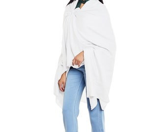 White Cashmere Shawl - Hand Woven