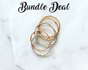 Thin Ring Band Rose Gold Hammered Stack Rings Sterling Silver 14k Gold Filled Stacking Ring Set Mother Gift From Daughter