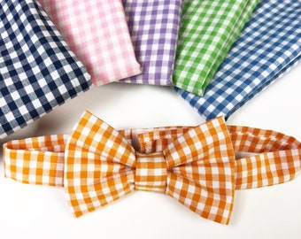 Gingham Check Adjustable Baby & Toddler Bow Tie with straps (velcro)- multiple colors