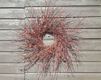 Fresh Red Willow with Rose Hips Wreath