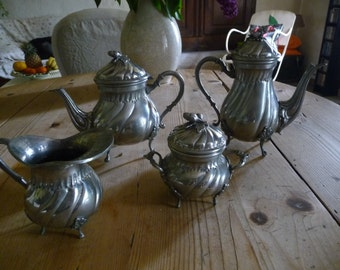 Service tea and coffee French pewter