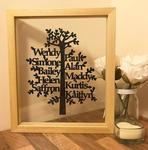 Family Tree Many Names Bespoke Floating Picture Framed
