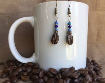 Jeans Genie...Authentic Fair Trade Coffee Bean Earrings .. FREE SHIPPING