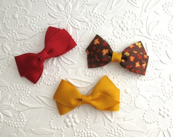 """Hair Bows ~ Fall Hair Bows for Baby Girls, Toddlers, and Girls, Cranberry, Mustard Hair Clips, Simple 3"""" Flat Style Hair Bows"""