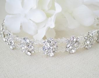 Rhinestone flower bridal halo, Swarovski crystal bridal headpiece, Wedding hair jewelry, Rhinestone hair piece, Crystal hair accessory