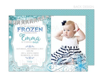 Snowy Frozen Winter Invitation |  Printable OR Professionally Printed | 5x7 | Customized | Snowflakes