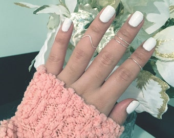 Midi Knuckle Ring - Set of 4 - Dainty ring, delicate ring, adjustable ring, cute ring, wire ring, tarnish resistant ring, midirings
