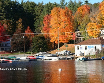 5 x 7 Greeting Card with Envelope - Long Lake, Harrison, Maine in the Fall, Cove, Foliage, Boats, Marina, Docks, Foliage, Reflections