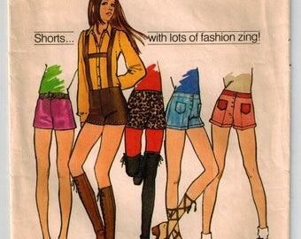 Vintage 70's Hip Hugger Short Shorts Hot Pants Waist 25.5 Hip 36 Cuffs Suspenders Patch or Contrasting Pockets Back Zipper or Front Button
