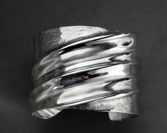 Fold Formed Hammered Sterling Silver Cuff Bracelet, Size Medium