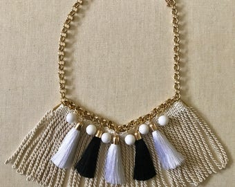 HULA Fringe and Tassel Necklace in Black + White | Statement Necklace | Bib Necklace