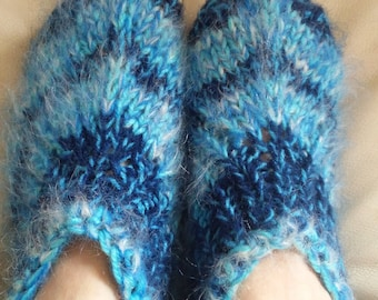 Hand knit slippers, mohair,sheep wool thick bed socks , UK 4-5.5, US 5-7, EU 37-38.5. Kozizake.