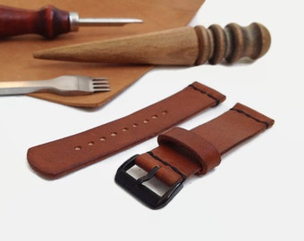 Brown leather watch strap Black PVD buckle Custom leather watch band Vegetable tanned leather watch strap 16 mm 18 mm 20 mm 22 mm watch band