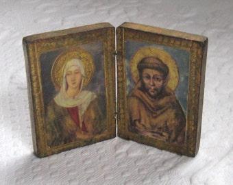 pocket shrine - Miniature Altar . Catholic saints . Italian saints