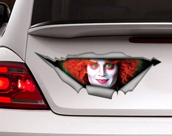 Mad Hatter sticker, car decal, Vinyl decal, Alice in wonderland sticker