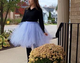 Lavender Tulle Skirt Women's Tutu  Elastic Waist Tulle Skirt In Knee Tea or Long Wedding Skirt Bridesmaids Engagement Photos Bachelorette