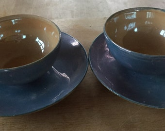 A vintage lustre ware small teacup and saucer pair.