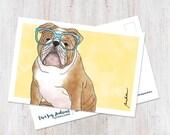 Cute English Bulldog art ...