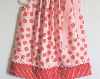 Pillowcase Dress with Strawberries Pink Dress Girls Dresses for Spring Dress Strawberry Dress Riley Blake Summer Dresses for Girls