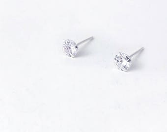 Dimensional dots stars,Four claw rounds of zircon,Coil ball of small zircon...Sterling Silver/925 Silver Stud Earrings,Column,For her(SE010)