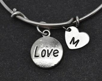 Bracelet d'amour, bracelet en argent Sterling, Bracelet Love, demoiselle d'honneur cadeau, personnalisé Bracelet, bracelet breloque, Bracelet initiale, monogramme