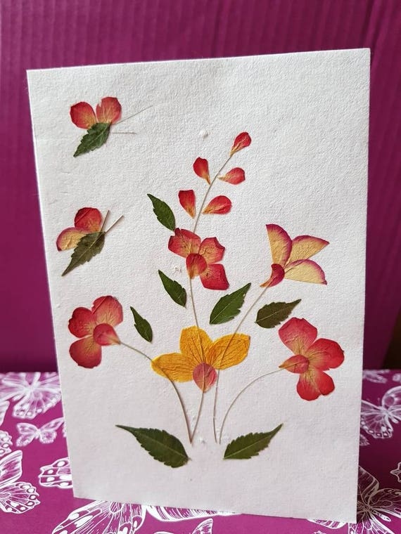 Real pressed flower blank greeting card with two butterflys