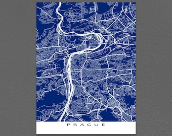 Prague Map Print, Prague Art, Praha Czech Republic Map Artwork
