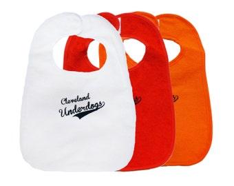 TerryCloth Bib with 'Cleveland Underdogs' Design (White, Red, or Orange)